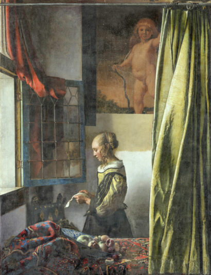 """Gemälde Johannes Vermeer """"Brieflesendes Mädchen am offenen Fenster"""" Staatliche Kunstsammlungen Dresden"""