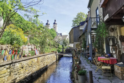 In den Weberhäusern, der ältesten Häuserzeile von Plauen, haben zahlreiche Kreativwerkstätten ihr Domizil.